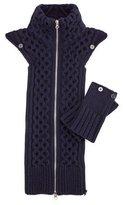 Veronica Beard Upstate Knit Dickey w/Cuffs, Navy