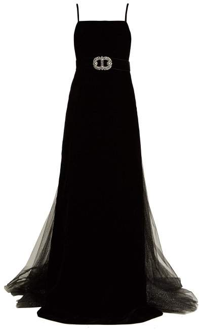 Gucci Crystal Embellished Velvet Gown - Womens - Black