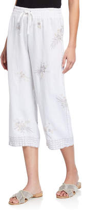 Johnny Was Oleander Floral Embroidered Cropped Heavy linen Pants