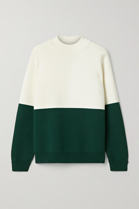 Tory Sport Oversized Two-tone Stretch-knit Sweater - White