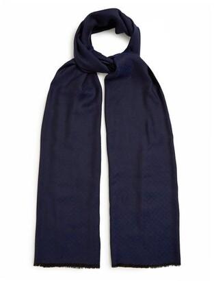 Bottega Veneta Bi-colour Fringed Silk-blend Scarf - Womens - Navy