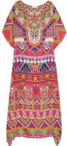 Camilla Sacred Weave Embellished Printed Silk-georgette Kaftan - Pink