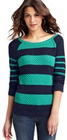 LOFT Stripe Roll Sleeve Cotton Sweater