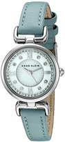 Anne Klein Women's AK/2383MPLB Swarovski Crystal Accented Silver-Tone and Blue Leather Strap Watch