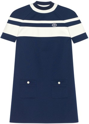 Gucci Striped jersey piquet short dress