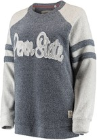 Unbranded Women's Pressbox Navy Penn State Nittany Lions Dawn Twisted Terry Raglan Sleeve Stripe Crew Sweatshirt