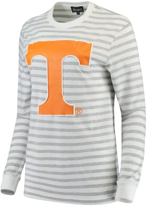 Women's Heathered Gray/White Tennessee Volunteers Elbow Patch Striped Long Sleeve T-Shirt