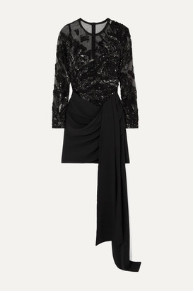 Elie Saab Sequin-embellished Tulle And Draped Cady Mini Dress - Black