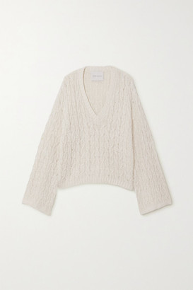 KING & TUCKFIELD Cable-knit Linen And Cotton-blend Sweater - White