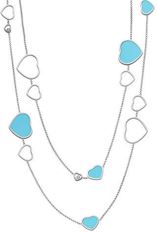Chopard Happy Hearts 18k White Gold Turquoise & Diamond Long Station Necklace