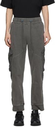 C2H4 Grey Cold-Dye Panelled Sweatpants
