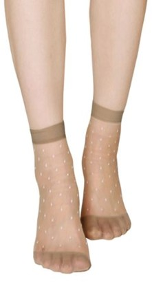 Unique Bargains Women Dots Pattern Ankle Length Stretchy Sheer Socks 10 Pairs Beige