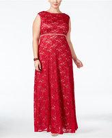 Alex Evenings Plus Size Lace Glitter A-Line Gown