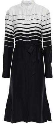 Equipment Roseabelle Belted Striped Washed Silk-blend Dress