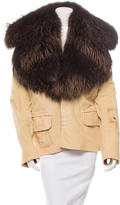 DSQUARED2 Fur-Trimmed Distressed Jacket
