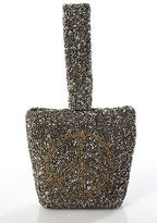 Moyna Gold Allover Beaded Graphic Print Small Square Clutch Bag New