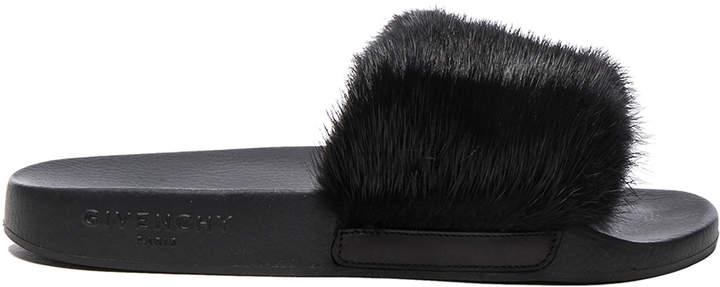 Givenchy Mink Fur Slides in Black | FWRD
