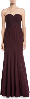 Halston Strapless Flowy Gown w/ Satin Strips