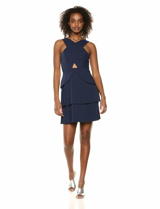 BCBGMAXAZRIA Azria Women's Pleated Cutout Peplum Dress