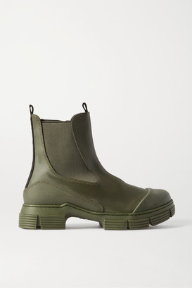 Ganni Rubber Chelsea Boots - Army green