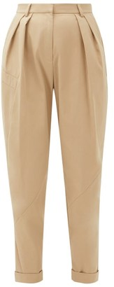 Preen Line Kasia Cropped High-waist Twill Trousers - Womens - Beige