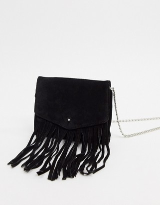Urban Code Urbancode real leather and suede fringe cross body bag