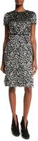 Burberry Ocelot Short-Sleeve Animal-Print Feathered Dress