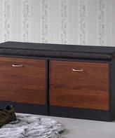 Baxton Studio Dark Brown & Oak Foley Modern Storage Bench & Shoe Rack