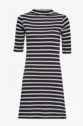 French Connection Terry Stripe Mock Neck Dress