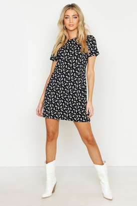 boohoo Floral Jersey Crew Neck Shift Dress