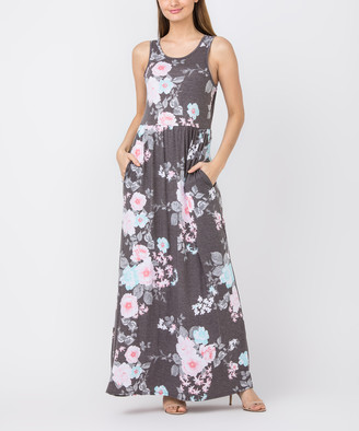 egs by eloges Women's Maxi Dresses CHARCOAL - Charcoal Floral Sleeveless Maxi Dress - Women