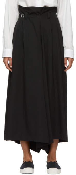 Y's Ys Black Gabardine Baggy Trousers