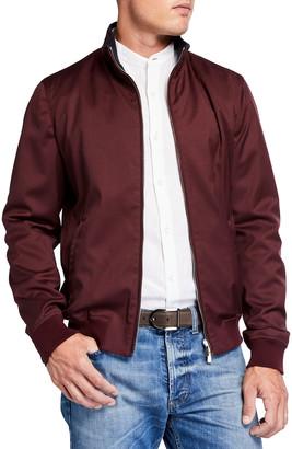 Mandelli Men's Satin Blouson Jacket w/ Lamb Leather