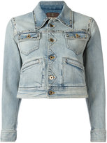 Roberto Cavalli printed back denim jacket - women - Silk/Cotton/Spandex/Elastane - 40