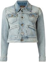 Roberto Cavalli printed back denim jacket - women - Silk/Cotton/Spandex/Elastane - 40
