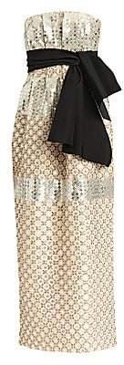 Carolina Herrera Women's Sequin Beaded Strapless Tie-Waist Sheath Dress