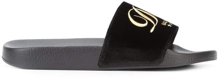 Dolce & Gabbana embroidered velvet slides