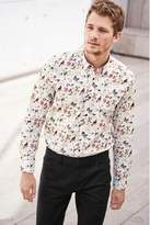 Mens Next White Long Sleeve Bird Print Shirt