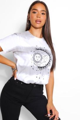 boohoo Tie Dye Sun And Moon T-Shirt