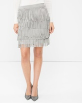 White House Black Market Silver Fringe Suede Skirt