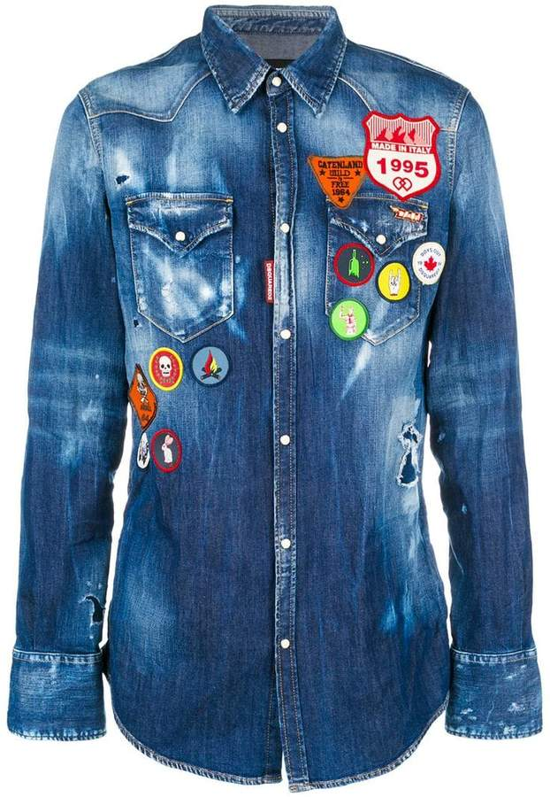 DSQUARED2 scout patch denim shirt