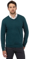 Jeff Banks Green V Neck Jumper With Silk And Cashmere