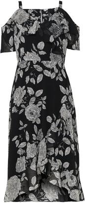 Wallis PETITE Monochrome Floral Print Ruffle Hem Dress