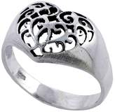 Sabrina Silver Sterling Silver Filigree Heart Ring 7/16 inch wide, size 6