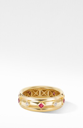 David Yurman Modern Renaissance 18K Gold Ring with Rubies & Diamonds