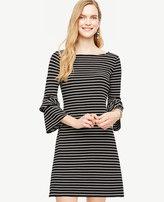 Ann Taylor Striped Ponte Flare Sleeve Dress