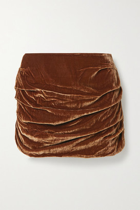 Georgia Alice Ruched Velvet Mini Skirt - Brown