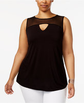 INC International Concepts Plus Size Mesh-Yoke Top, Created for Macy's