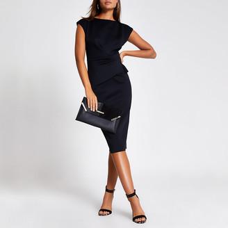 River Island Black frill waist bodycon midi dress