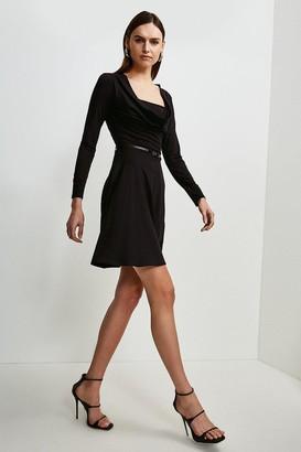 Karen Millen Jersey Cowl Layered Belted Dress